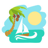 Tropical island with palm tree. Vector illustration icon for Thailand traveling. Royalty Free Stock Photography