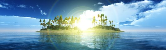Tropical island. Palm trees on the beach, panorama of tropical sunset Royalty Free Stock Images