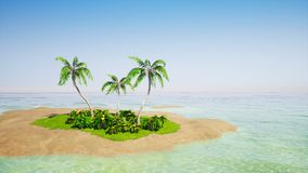 Tropical island with palm trees and clear sky. Tropical island with palm trees and clear blue sky stock video