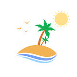 Tropical island with palm trees. Illustration design Royalty Free Stock Images