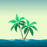 Tropical island and palm trees illustration. Plant coco on background vector Royalty Free Stock Photo