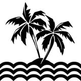 Tropical island and palm trees illustration. Tropical island and palm trees. Summer silhouette isolated plant, vector illustration Royalty Free Stock Image