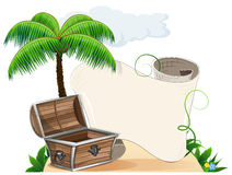 Tropical island, palm trees and pirate chest Stock Photo