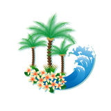 Tropical island with palm trees and surf Stock Photos