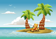 Tropical Island. Palm trees on the unhabited tropical island in the ocean Stock Images