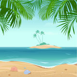 Tropical  island with palm trees Stock Photo