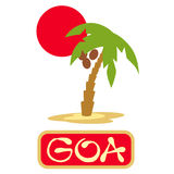 Tropical island with palm trees. Vector illustration icon for GOA traveling. Stock Photos