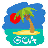 Tropical island with palm trees. Vector illustration icon for GOA traveling. Stock Photography