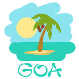 Tropical island with palm trees. Vector illustration icon for GOA traveling. Stock Photo