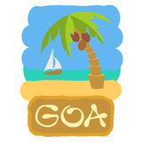 Tropical island with palm trees. Vector illustration icon for GOA traveling. Stock Image