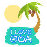 Tropical island with palm trees. Vector illustration icon for GOA traveling. Royalty Free Stock Images
