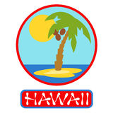 Tropical island with palm trees. Vector illustration icon for Hawaii traveling. Royalty Free Stock Photo