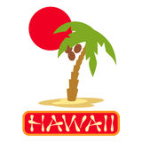 Tropical island with palm trees. Vector illustration icon for Hawaii traveling. Royalty Free Stock Photography