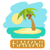 Tropical island with palm trees. Vector illustration icon for Hawaii traveling. Stock Image