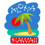 Tropical island with palm trees. Vector illustration icon for Hawaii traveling. Royalty Free Stock Images