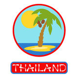 Tropical island with palm trees. Vector illustration icon for Thailand traveling. Stock Images