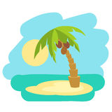 Tropical island with palm trees. Vector illustration icon for Thailand traveling. Royalty Free Stock Photo