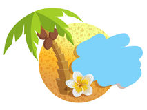 Tropical island with palm trees. Vector illustration icon for Thailand traveling. Stock Image