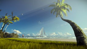 Tropical island, palm trees and yacht sailing, woman running on the beach, godrays stock video