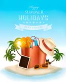 Tropical island with palms, a beach bag and and photo. Royalty Free Stock Images