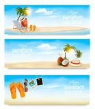 Tropical island with palms, a beach chair and a suitcase. Royalty Free Stock Photo