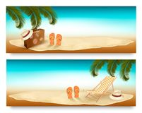 Tropical island with palms, a beach chair and a suitcase. Vacati Royalty Free Stock Image