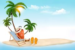 Tropical island with palms, a beach chair and a suitcase. Stock Image