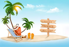 Tropical island with palms, a beach chair and a suitcase. Royalty Free Stock Image