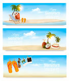 Tropical island with palms, a beach chair and a suitcase. Vacation vector banners. Vector Stock Photography