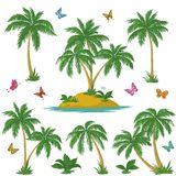 Tropical island, palms and butterflies Stock Photo