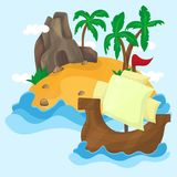 Tropical Island with palms in ocean Royalty Free Stock Images