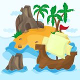 Tropical Island with palms and Ship in ocean Royalty Free Stock Photos