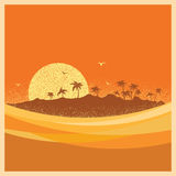 Tropical island with palms and sun.Vector poster Stock Images