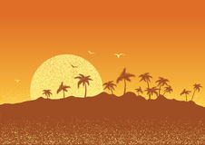Tropical island with palms and sun.Vector sunset poster Royalty Free Stock Photo