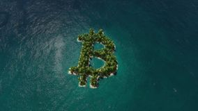 Tropical island with palms in turqouse sea. Bit coin sign. Three dimensional rendering 3D animation stock video