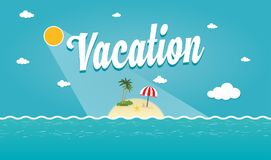 Vector Illustration of Tropical summer island. Tropical Island with palms under blue sky, Vector Nature Landscape Illustration Royalty Free Stock Photos