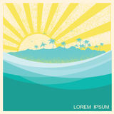 Tropical island with palms.Vector nature seascape illustration Stock Images