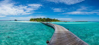 Tropical island panorama landscape with bridge at Maldives Royalty Free Stock Photo