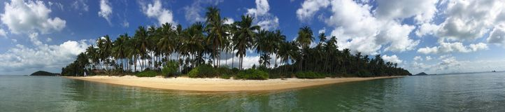 Tropical island panorama. Panoramic view of a tropical island with palm trees. Taken in Koh Samui, Thailand Royalty Free Stock Photos