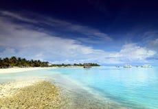 Tropical island paradise. Beautiful holiday resort in Kandooma overlooking the sea Royalty Free Stock Image