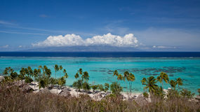 Tropical Island Paradise. With blue ocean water and lagoon Stock Images
