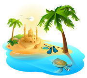 Tropical island paradise beach. Palm tree, sand castle, fins, sea turtle Royalty Free Stock Photo