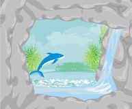 Tropical island paradise with leaping dolphin Vector Illustration