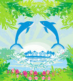 Tropical island paradise with leaping dolphins Royalty Free Stock Images