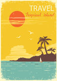 Tropical island paradise.Vector summer sun poster Royalty Free Stock Photo