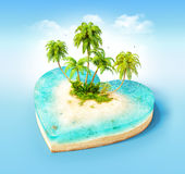 Tropical island. Piece of tropical island with water and palms on a beach in cross section in shape of heart.  Unusual travel illustration Stock Photography