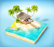 Tropical island. Piece of tropical island with water, palms and bungalow on a beach in cross section.  Unusual travel illustration Stock Images