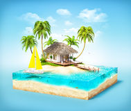 Tropical island. Piece of tropical island with water, palms and bungalow on a beach in cross section.  Unusual travel illustration Royalty Free Stock Photography