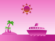 Tropical island pink Stock Image