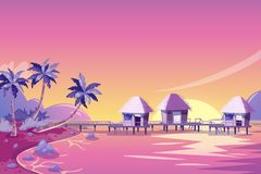 Tropical island pink sunset landscape. Vector cartoon illustration. Palms, beach and bungalows in the ocean. Summer travel background royalty free illustration